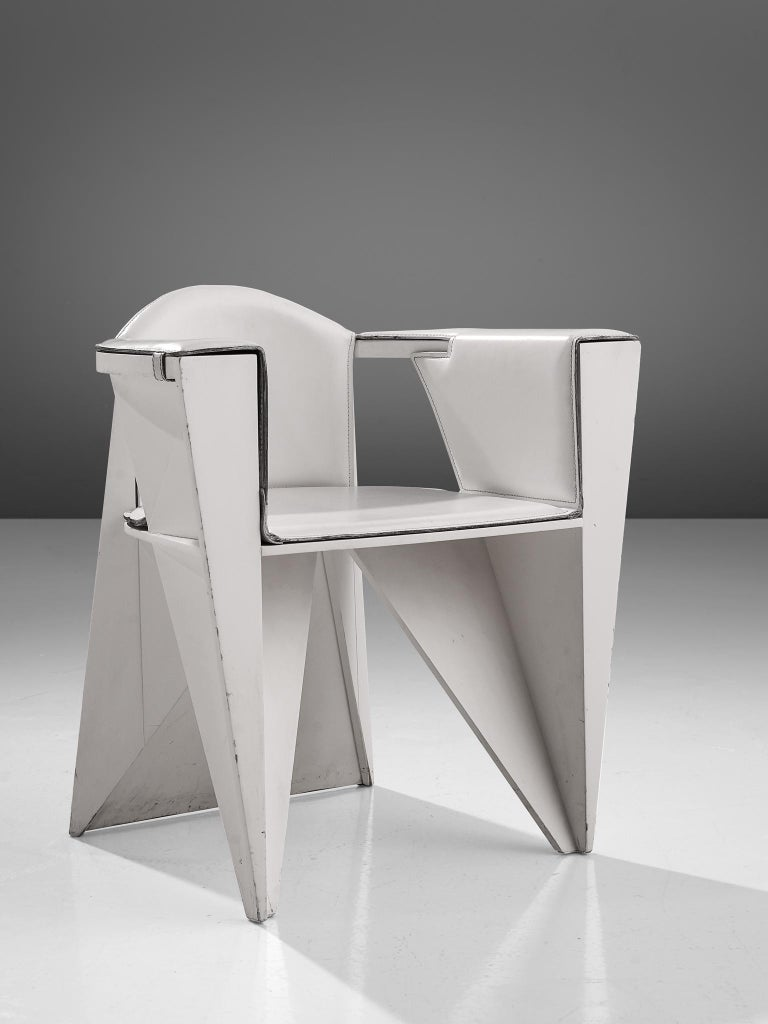 Italian Adriano & Paolo Suman White Armchair, Italy, 1984 For Sale