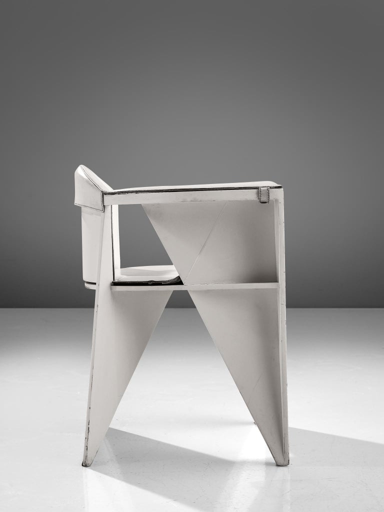 Adriano & Paolo Suman White Armchair, Italy, 1984 In Good Condition For Sale In Waalwijk, NL