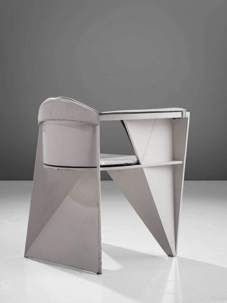 Late 20th Century Adriano & Paolo Suman White Armchair, Italy, 1984 For Sale