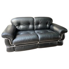 Adriano Piazzesi, Black Leather 2-Seat Sofa, 1976