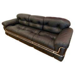 Adriano Piazzesi, Black Leather 3-Seat Sofa, 1976