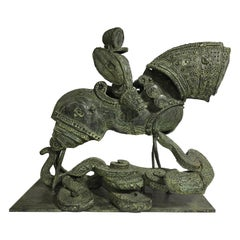 "Adriano Pompa ""San Giorgio and the Dragon"" Bronze Sculpture"