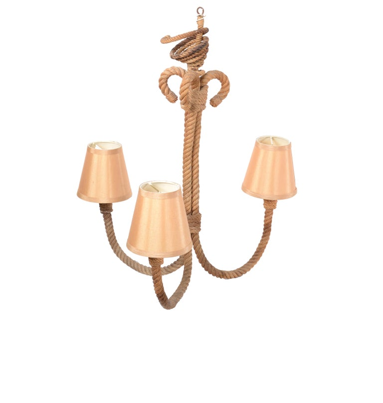 Mid-Century Modern Adrien Audoux and Frida Minet 3-light French rope chandelier. Nautical design made in the 1960s. Takes 3-light bulbs with max. 40 watts.
