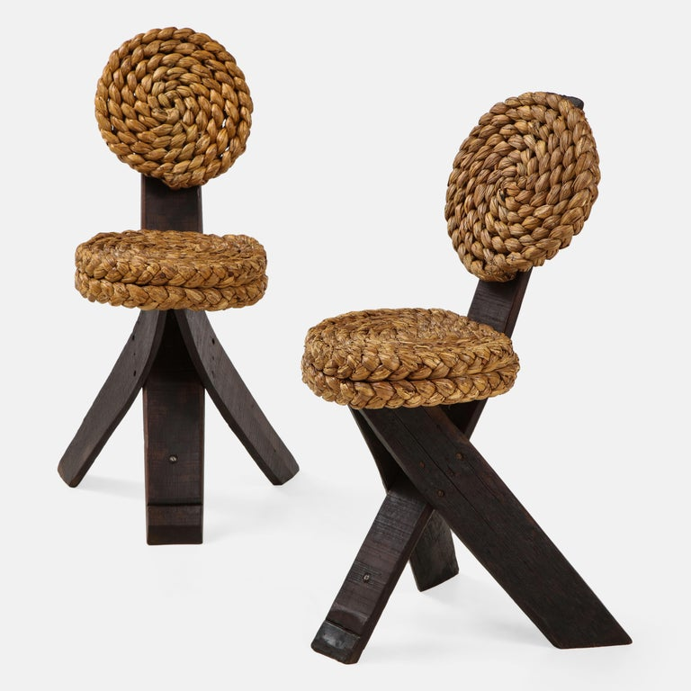 Brutalist Adrien Audoux and Frida Minet Pair of Rope and Wood Chairs, France, 1950s For Sale