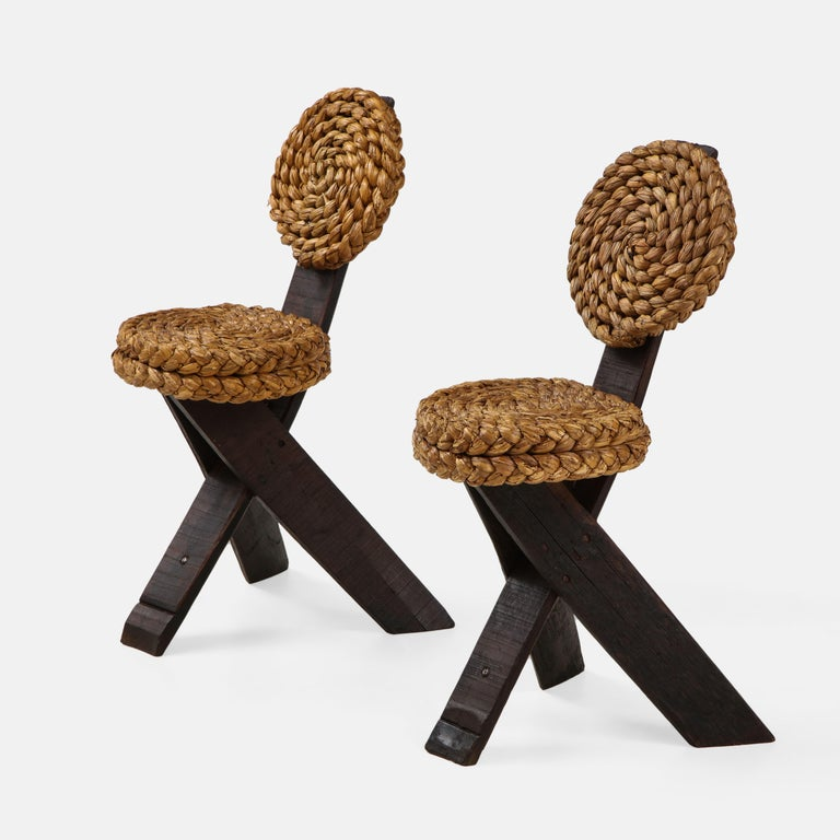 French Adrien Audoux and Frida Minet Pair of Rope and Wood Chairs, France, 1950s For Sale