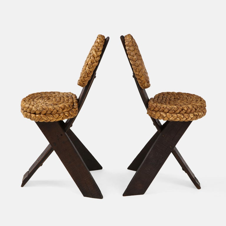 Stained Adrien Audoux and Frida Minet Pair of Rope and Wood Chairs, France, 1950s For Sale