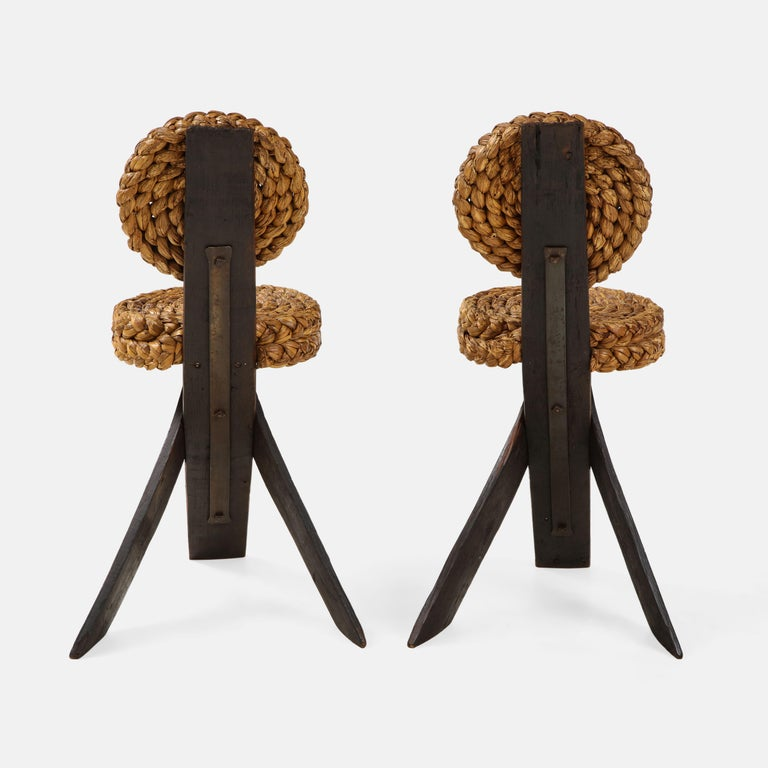 Adrien Audoux and Frida Minet Pair of Rope and Wood Chairs, France, 1950s For Sale 2