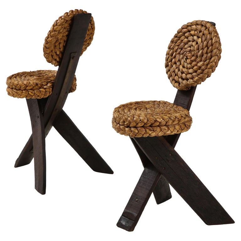 Adrien Audoux and Frida Minet Pair of Rope and Wood Chairs, France, 1950s For Sale