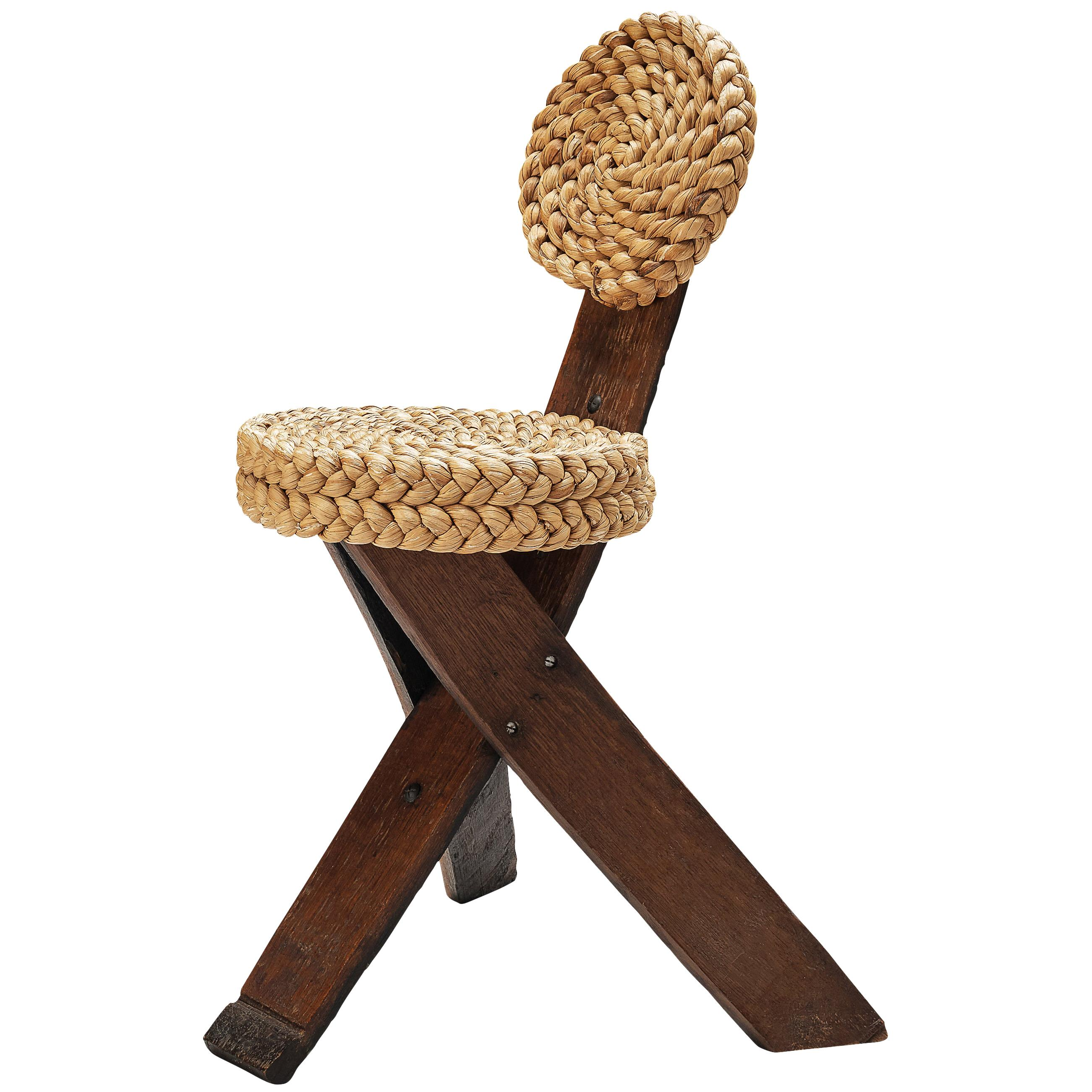 Adrien Audoux and Frida Minet Side Chair in Oak with Braided Straw