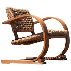 Adrien Audoux & Frida Minet Rope Easy Chair for Vibo, circa 1940, Paris, France