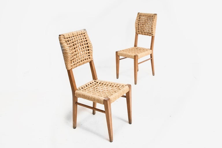 Adrien Audoux & Frida Minet, Set of Six Dining Chairs, France 1950 In Good Condition For Sale In Barcelona, Spain