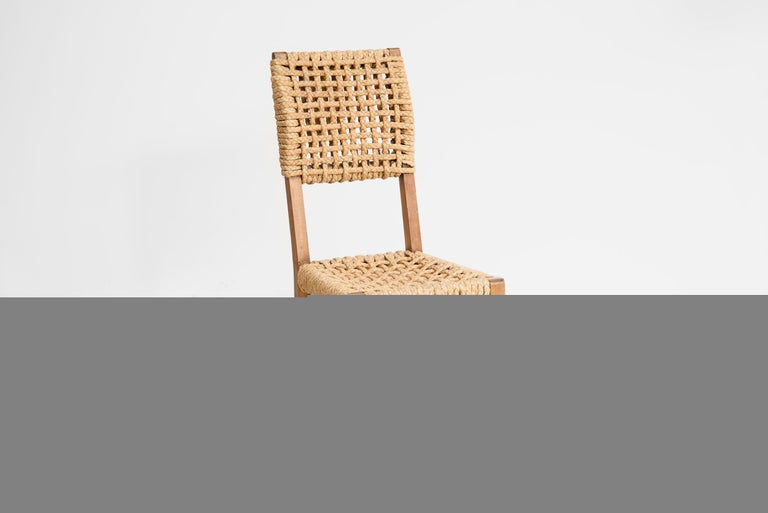 Rope Adrien Audoux & Frida Minet, Set of Six Dining Chairs, France 1950 For Sale