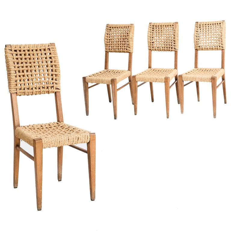 Adrien Audoux & Frida Minet, Set of Six Dining Chairs, France 1950 For Sale