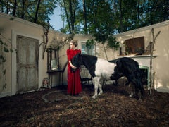 Audrey and the Pony, Fantasy Photograph, Woman in Red with Black and White Horse