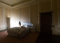 Bed Chambers, Mysterious Bedroom Photograph, Glowing Seated Figure on Bed