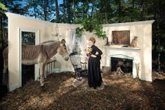 Eleventh Hour, Large Fantasy Photograph, Woman in Black with Rabbit and Zebra