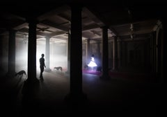 Forest of Columns, Fantasy Photograph, Girl in Glowing Dress in Dark Interior