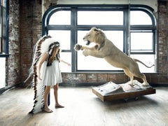 Lion's Breath, Fantasy Photograph, Girl in Headdress with Lion in Interior