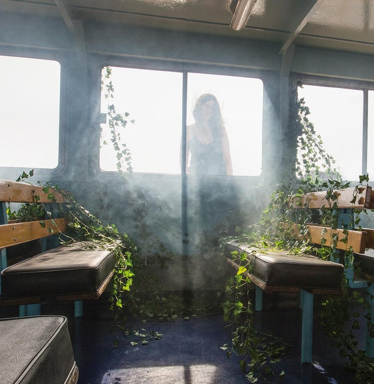 Lost in Thought, Fantasy Photograph, Woman in Fog on Ferry with Vines For Sale 1