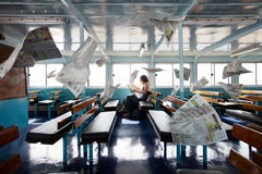 Lost in Thought on Fishers Island Ferry, Print on Aluminum, Woman with Newspaper