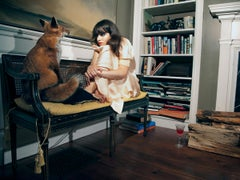 Lucy and the Fox, Fantasy Photograph, Woman with Red Fox on Bench in Interior