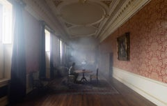 The Long Room, Mysterious Interior Photograph, Seated Figures, Glowing Dress