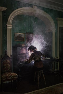 The Parlor, Mysterious Photograph of Woman Playing Piano in Victorian Interior