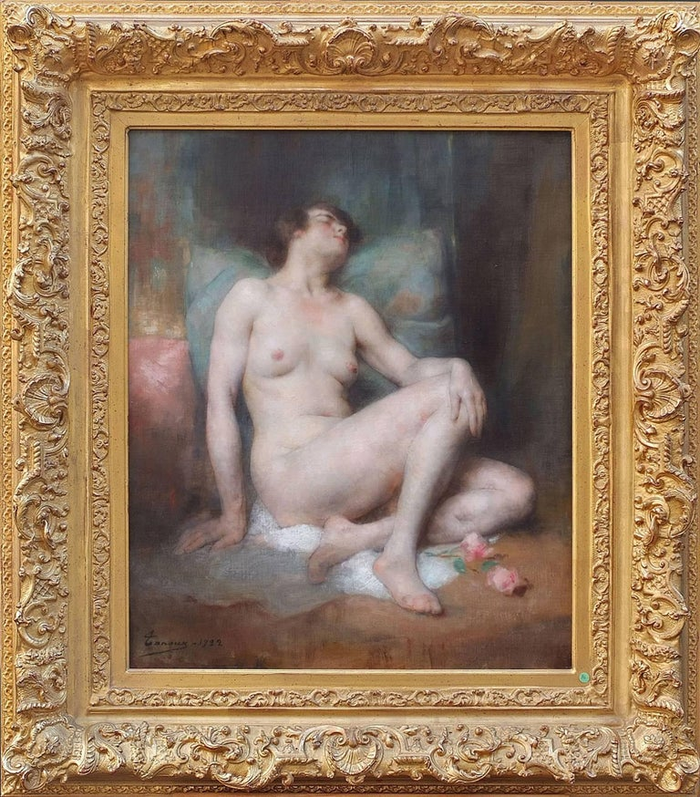 Adrien-Henri Tanoux Nude Painting - Painting Early 20th Century Portrait Nude Woman