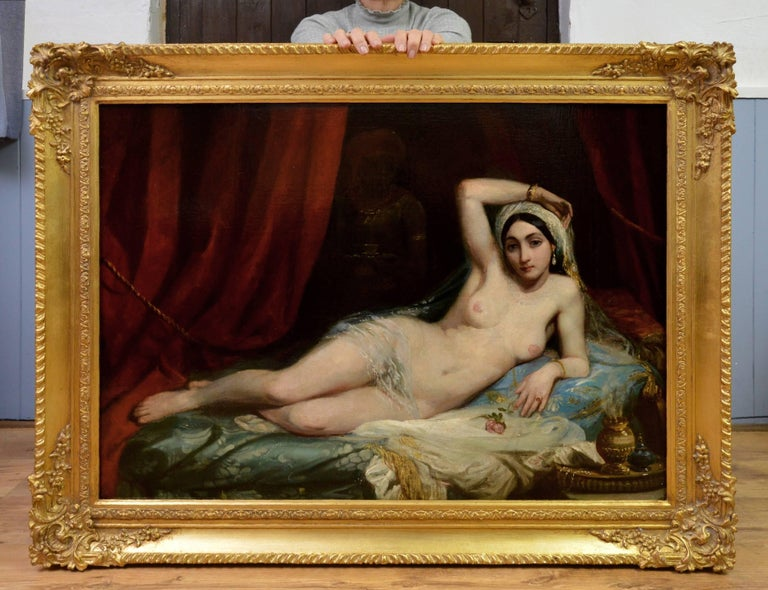 Une Odalisque - 19th Century French Orientalist Nude Oil Painting - Harem Girl - Brown Nude Painting by Adrien-Henri Tanoux