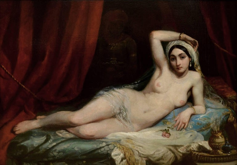 This is a large fine 19th century oil on canvas depicting a harem girl or odalisque reclining in an Oriental seraglio by an artist of the circle of the famous French painter Henri Adrien Tanoux (1865-1923). The painting hangs in a superb quality