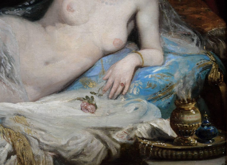Une Odalisque - 19th Century French Orientalist Nude Oil Painting - Harem Girl 2
