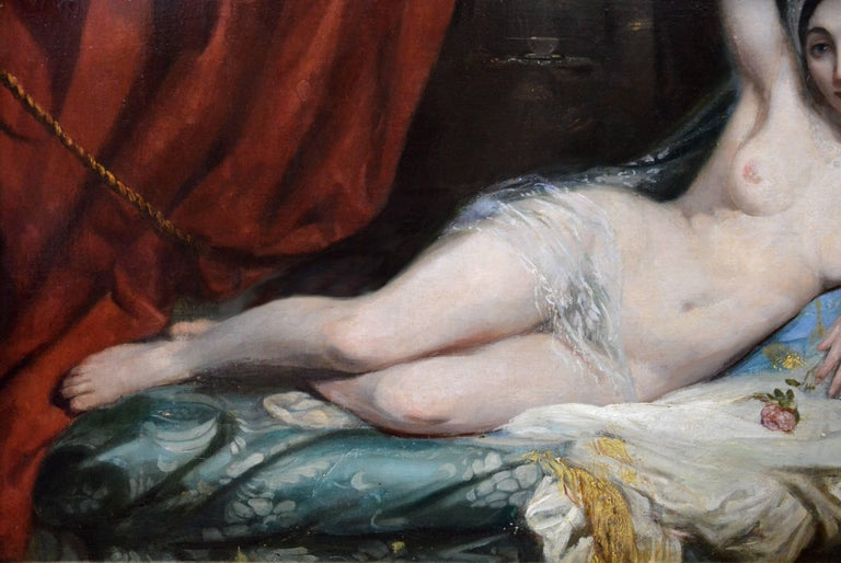 Une Odalisque - 19th Century French Orientalist Nude Oil Painting - Harem Girl 3