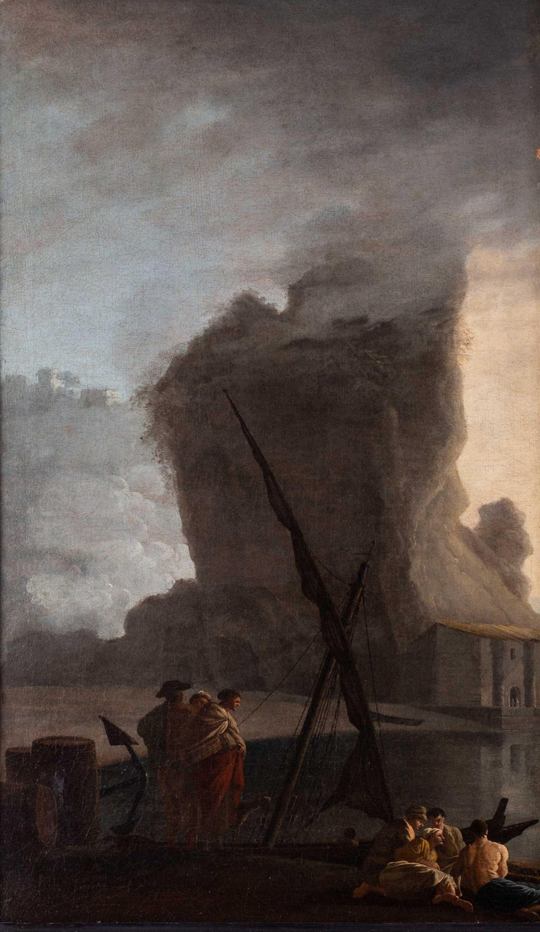 French 18th Century landscape painting of Sailors at a quay under misty skies - Painting by Adrien Manglard