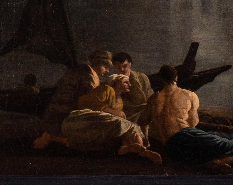 French 18th Century landscape painting of Sailors at a quay under misty skies - Old Masters Painting by Adrien Manglard