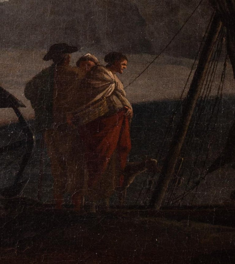 French 18th Century landscape painting of Sailors at a quay under misty skies - Black Landscape Painting by Adrien Manglard