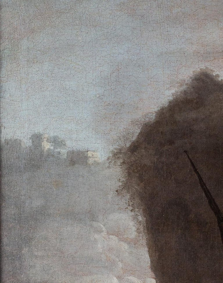 French 18th Century landscape painting of Sailors at a quay under misty skies For Sale 1