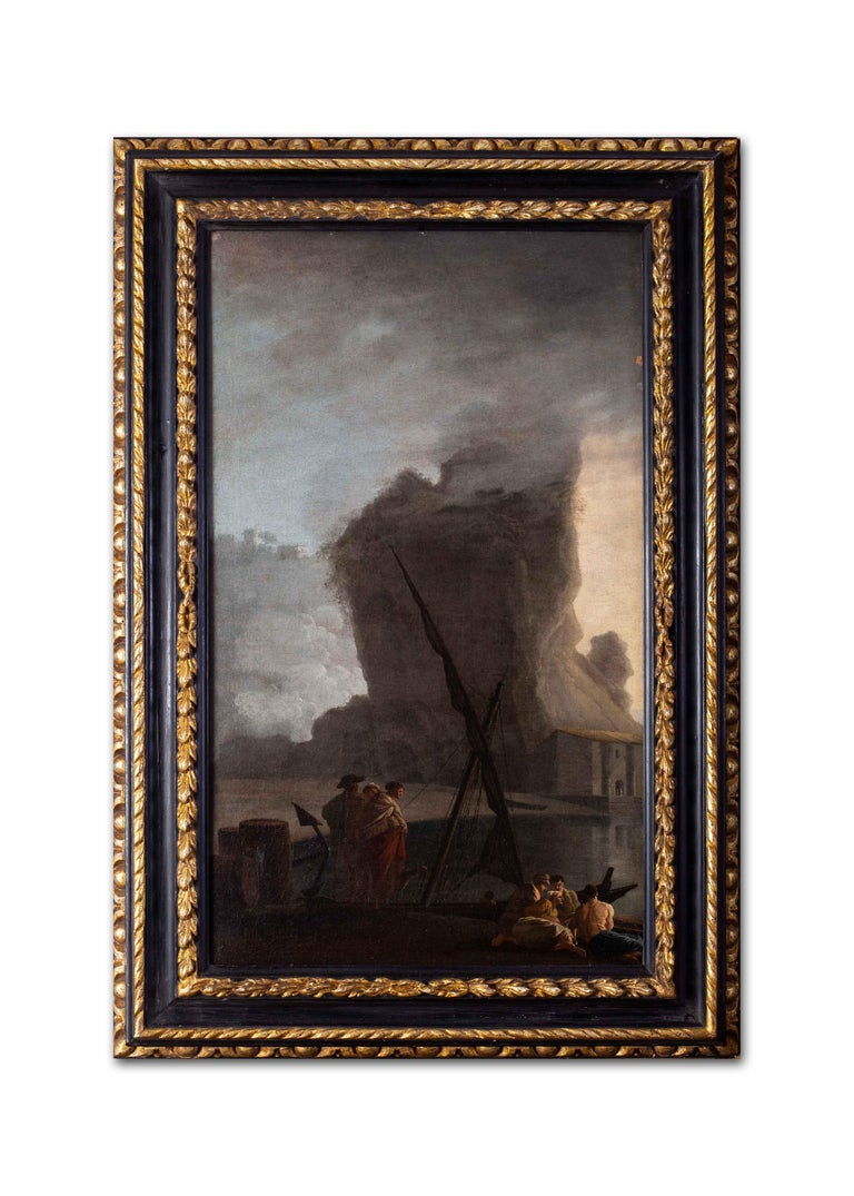 French 18th Century landscape painting of Sailors at a quay under misty skies For Sale 3