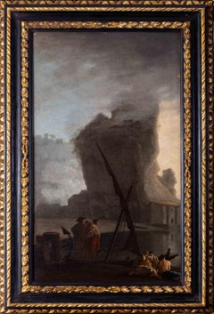 French 18th Century landscape painting of Sailors at a quay under misty skies