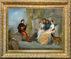 19th century French painting - An outdoor concert - music genre figurative