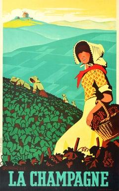 Original Vintage Poster La Champagne France Sparkling Wine Drink Vineyard Grapes