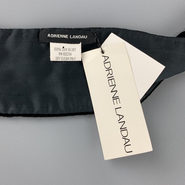 ADRIENNE LANDAU Beaded Black Silk Velvet Fringe Skinny Scarf In New Condition For Sale In San Francisco, CA