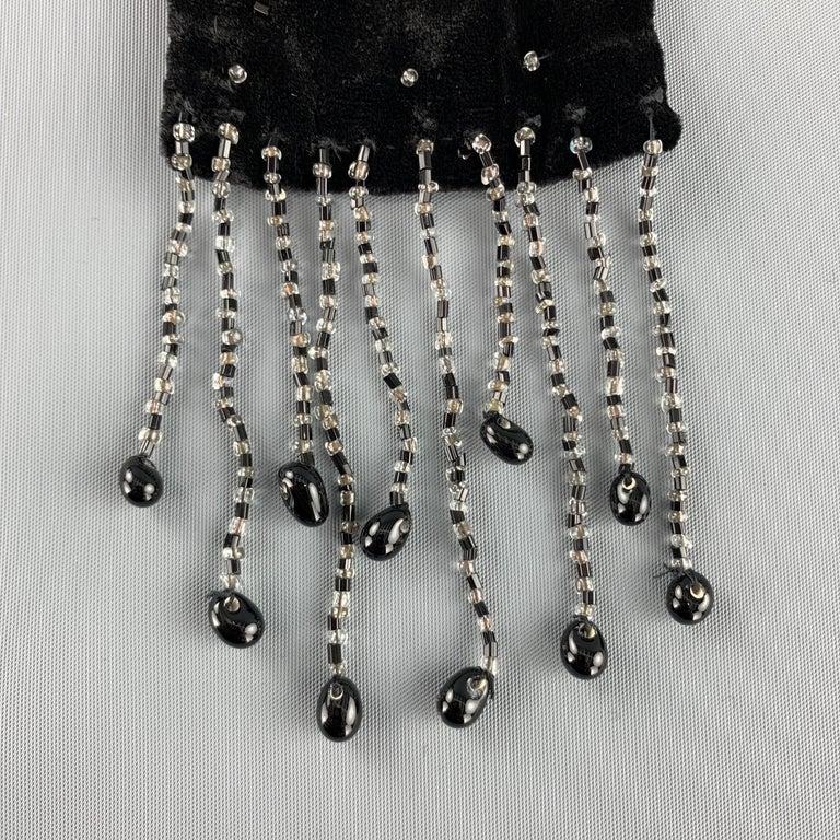 Women's ADRIENNE LANDAU Beaded Black Silk Velvet Fringe Skinny Scarf For Sale