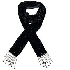 ADRIENNE LANDAU Beaded Black Silk Velvet Fringe Skinny Scarf