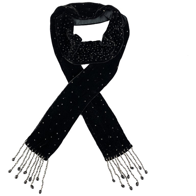 ADRIENNE LANDAU Beaded Black Silk Velvet Fringe Skinny Scarf For Sale