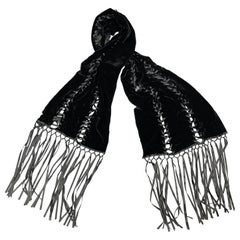 ADRIENNE LANDAU Black Velvet Lace Up Ribbon Fringe Scarf