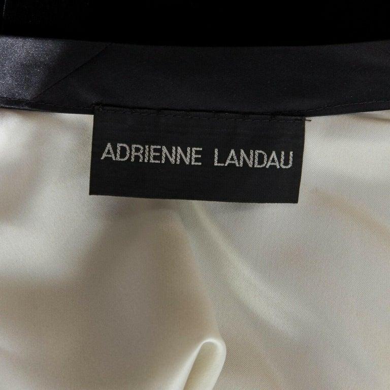 ADRIENNE LANDAU black velvet white silk lined cape poncho shawl jacket For Sale 5