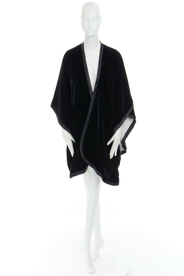 Black ADRIENNE LANDAU black velvet white silk lined cape poncho shawl jacket For Sale