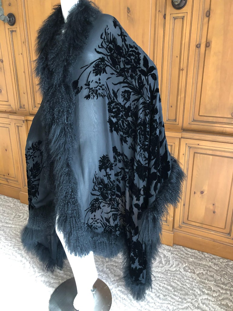 Adrienne Landau Huge Vintage Black Devore Velvet Shawl with Curly Lamb Trim Size 42 40