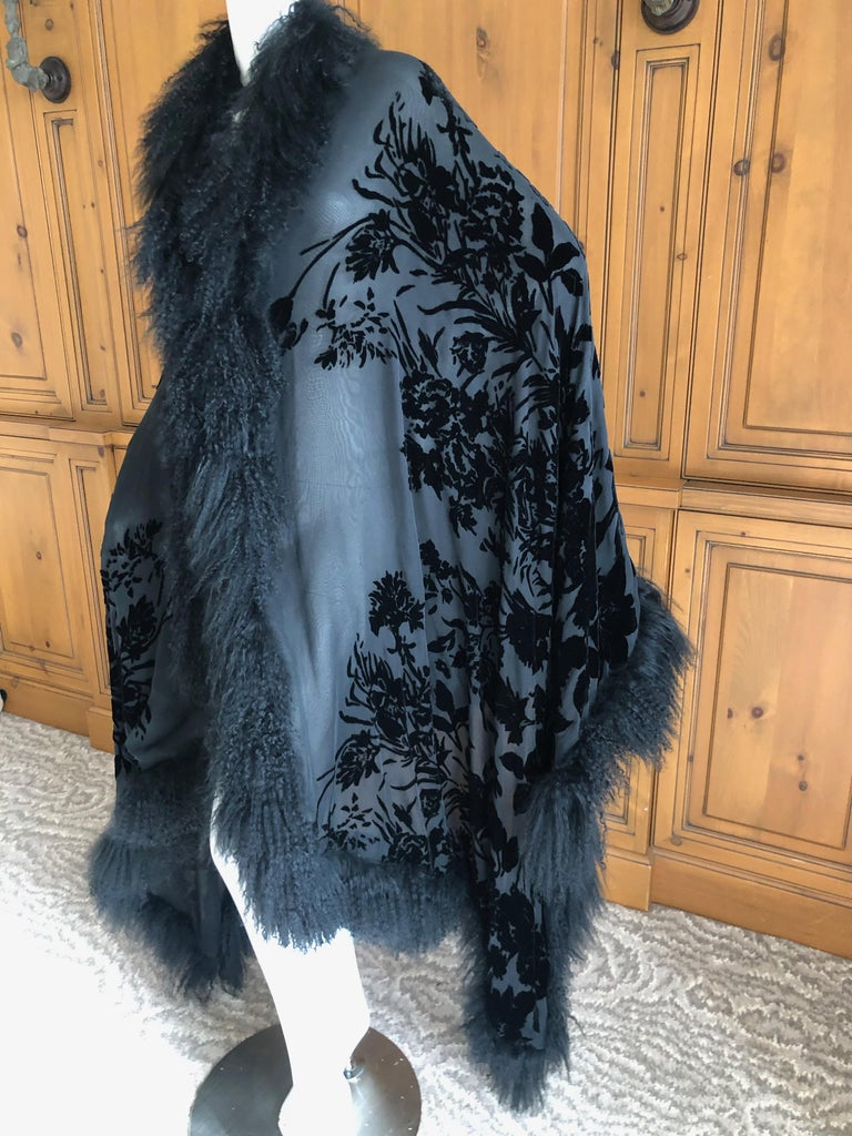 Adrienne Landau Large Vintage Black Devore Velvet Shawl with Curly Lamb Trim   In Excellent Condition In San Francisco, CA