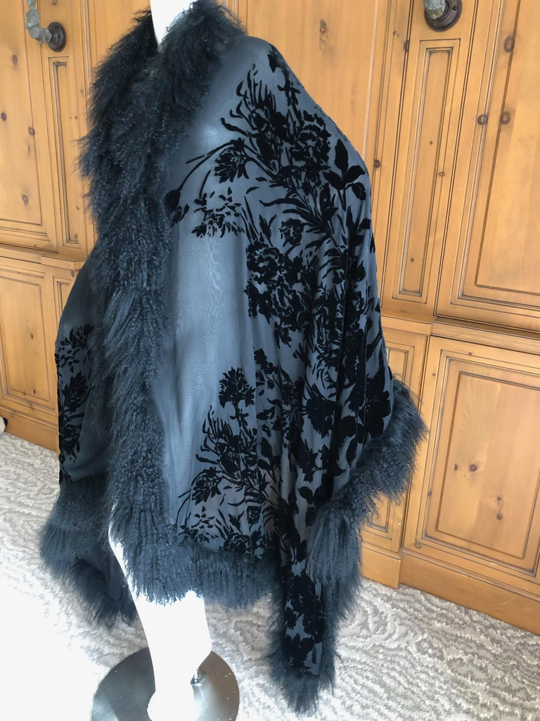 Adrienne Landau Large Vintage Black Devore Velvet Shawl with Curly Lamb Trim   1
